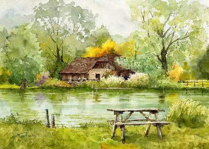 Drawn scenery water colour Watercolor 153 stream Pinterest water