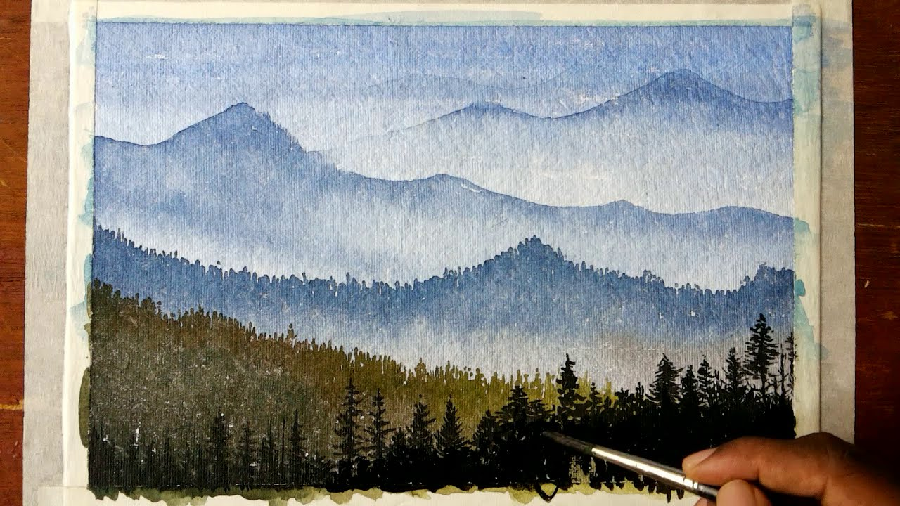 Drawn scenic water colour How mountain landscape YouTube watercolors
