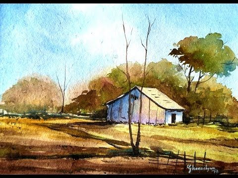Drawn scenery water colour Landscape How Watercolor on Watercolor
