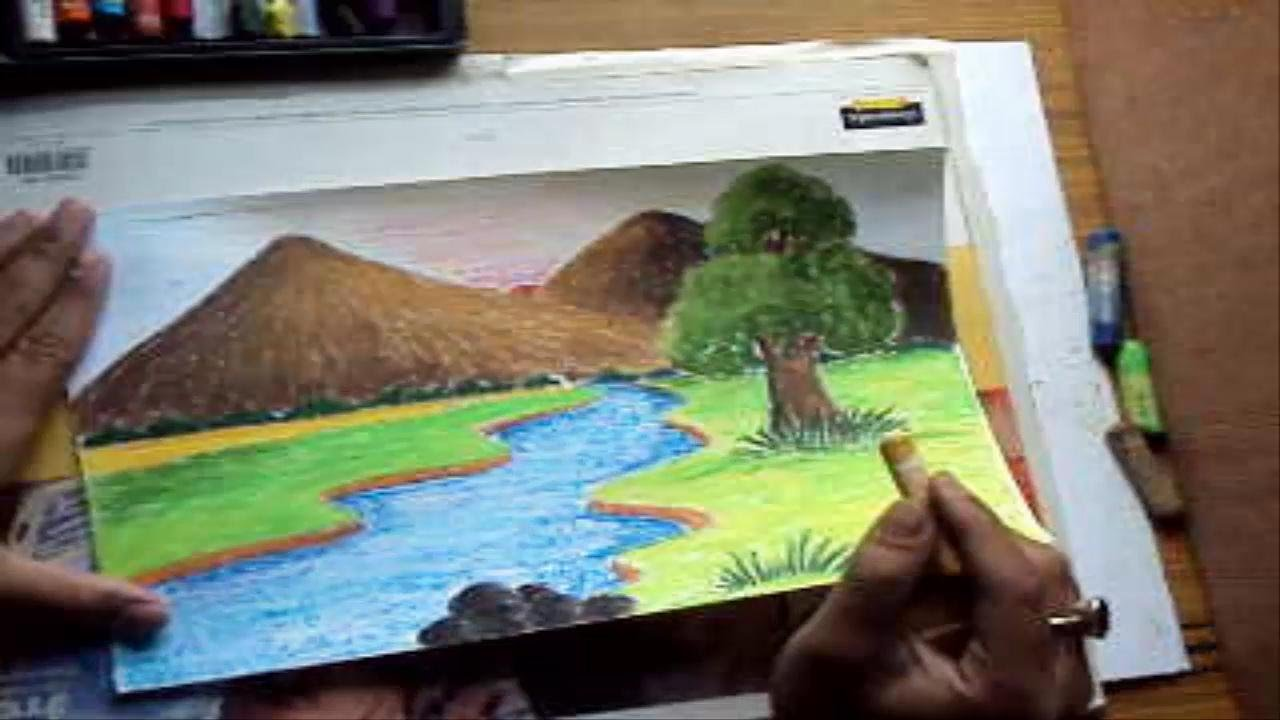 Drawn river easy Pastel a River River in