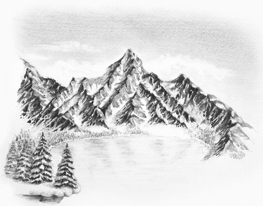 Drawn scenery mountain How Scratch Drawing Winter Landscape