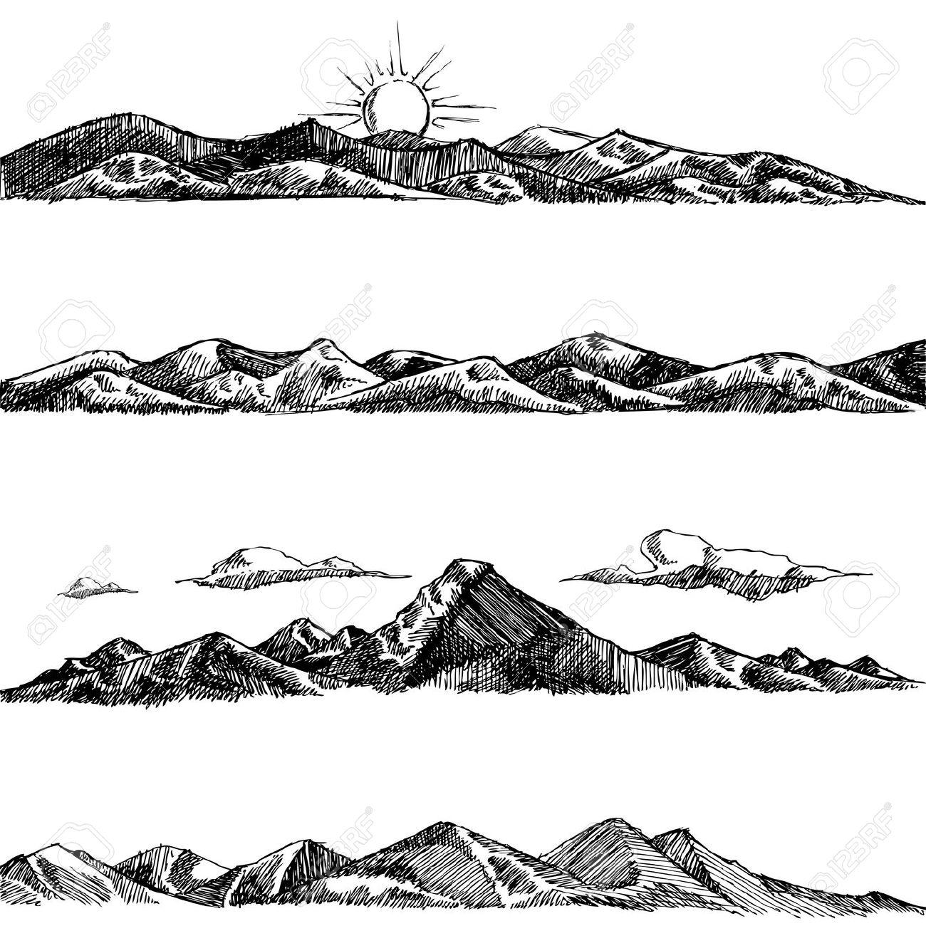 Drawn hill bush Google Pinterest Printing Search mountains
