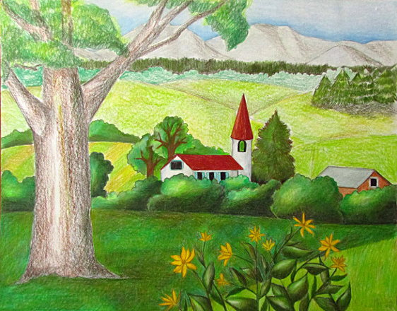 Drawn scenery landscape Color Landscape Color Drawing Pencil