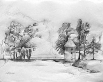 Drawn still life nature Sketches Original Landscape landscape UNESCO