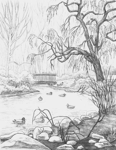 Drawn bridge landscape PENCIL DRAWINGS pencil WILDLIFE with
