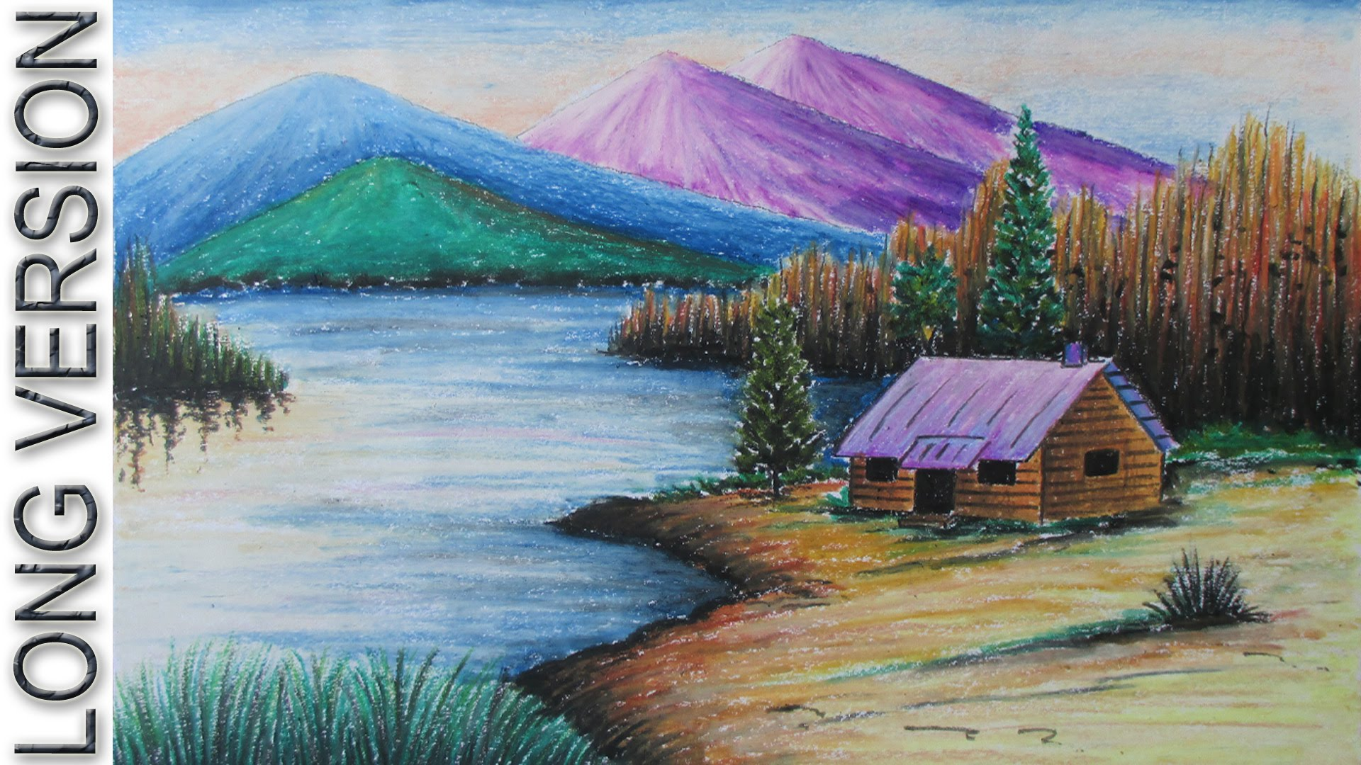 Drawn scenic pastel Landscape Mountain with Landscape Draw