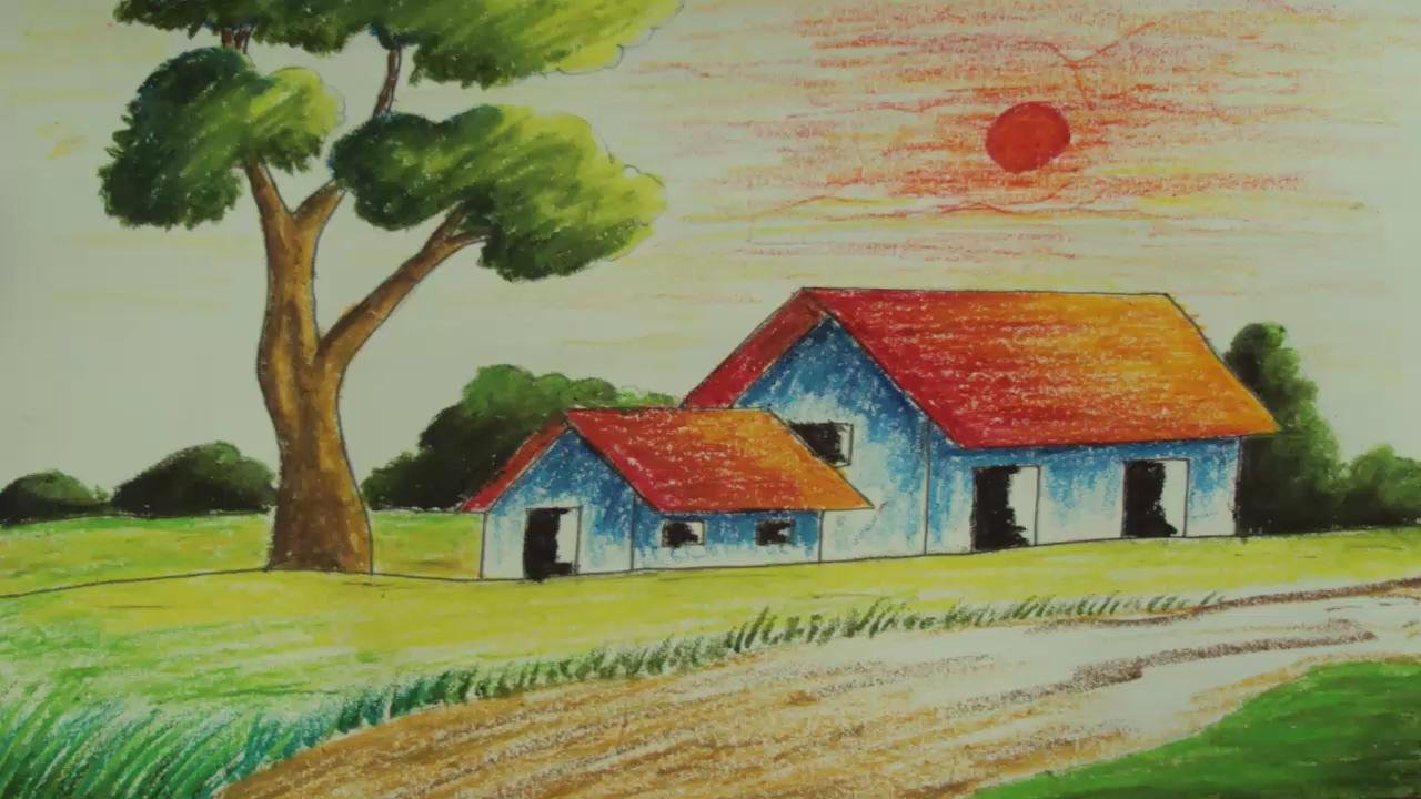 Drawn scenic oil painting A Pastel simple Village to