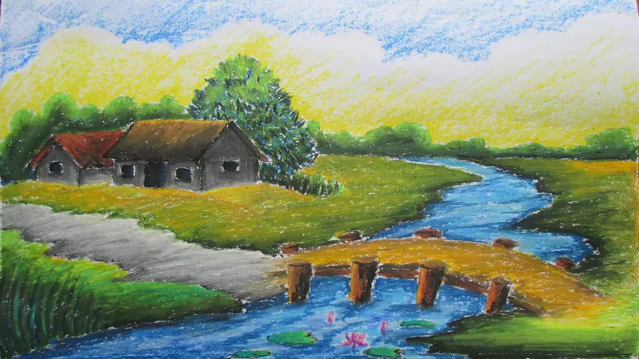 Drawn scenic oil painting A Pastel Village Village 9
