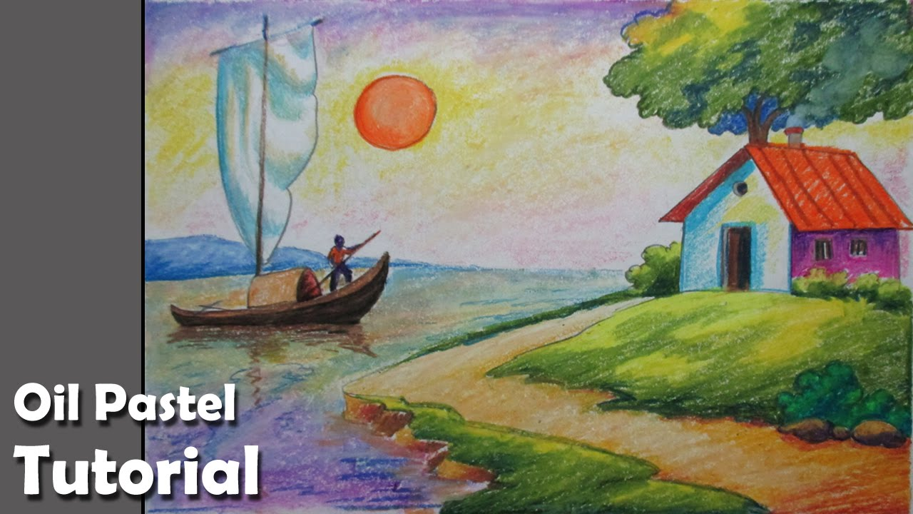 Drawn scenic oil painting Landscape How with Pastels to