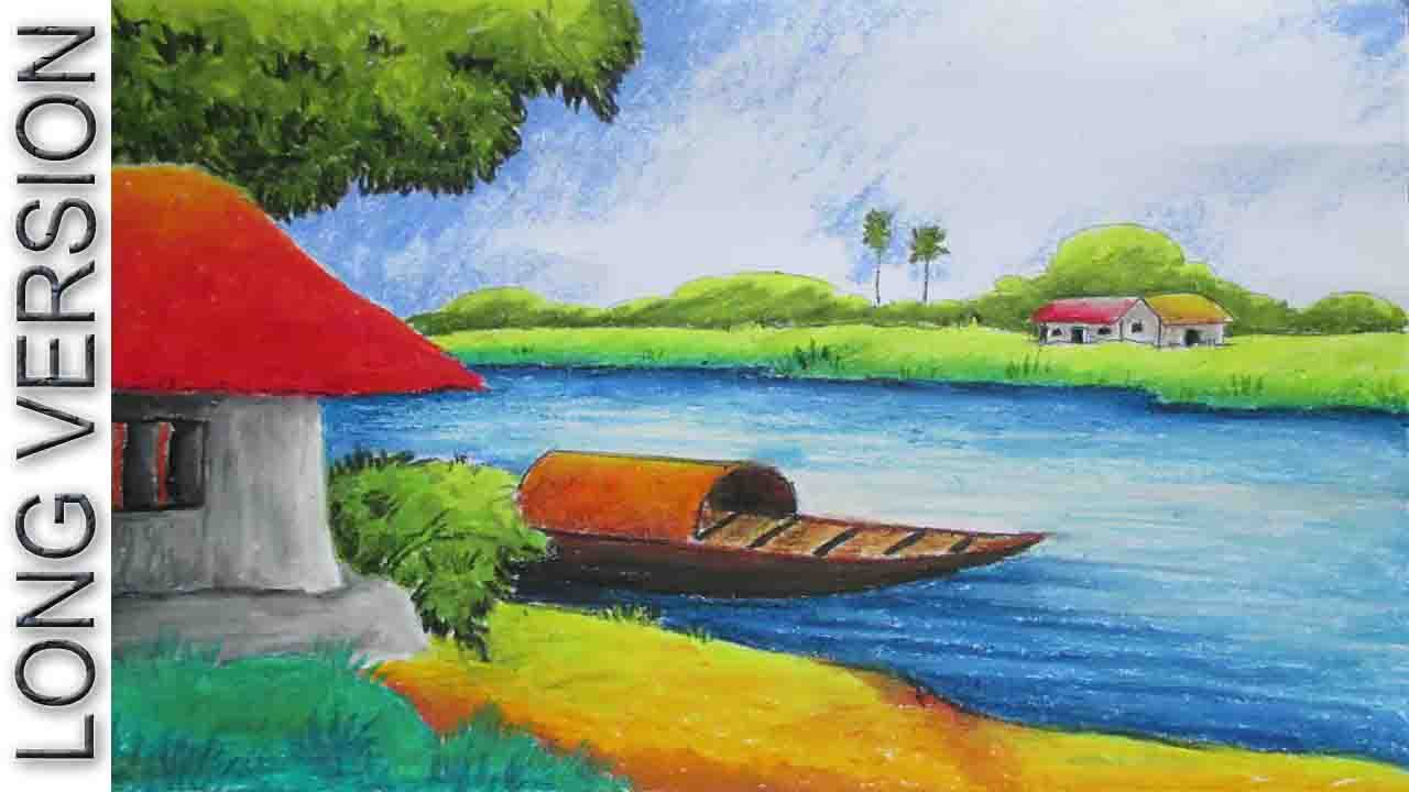Drawn scenic oil painting Drawing Pastel Tutorial [Long Pastel