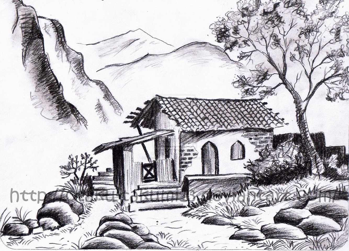 Drawn scenic landscape Pencil Pencil Pencil Landscapes Drawings