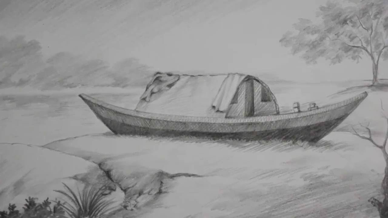 Drawn scenery shading Pencil a riverside to Pencil