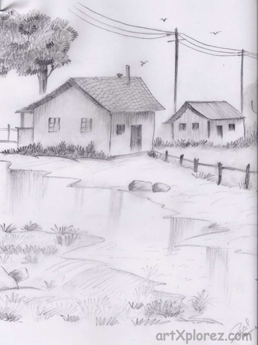 "Drawn scenic shading "" water reflection pencil Pencil"