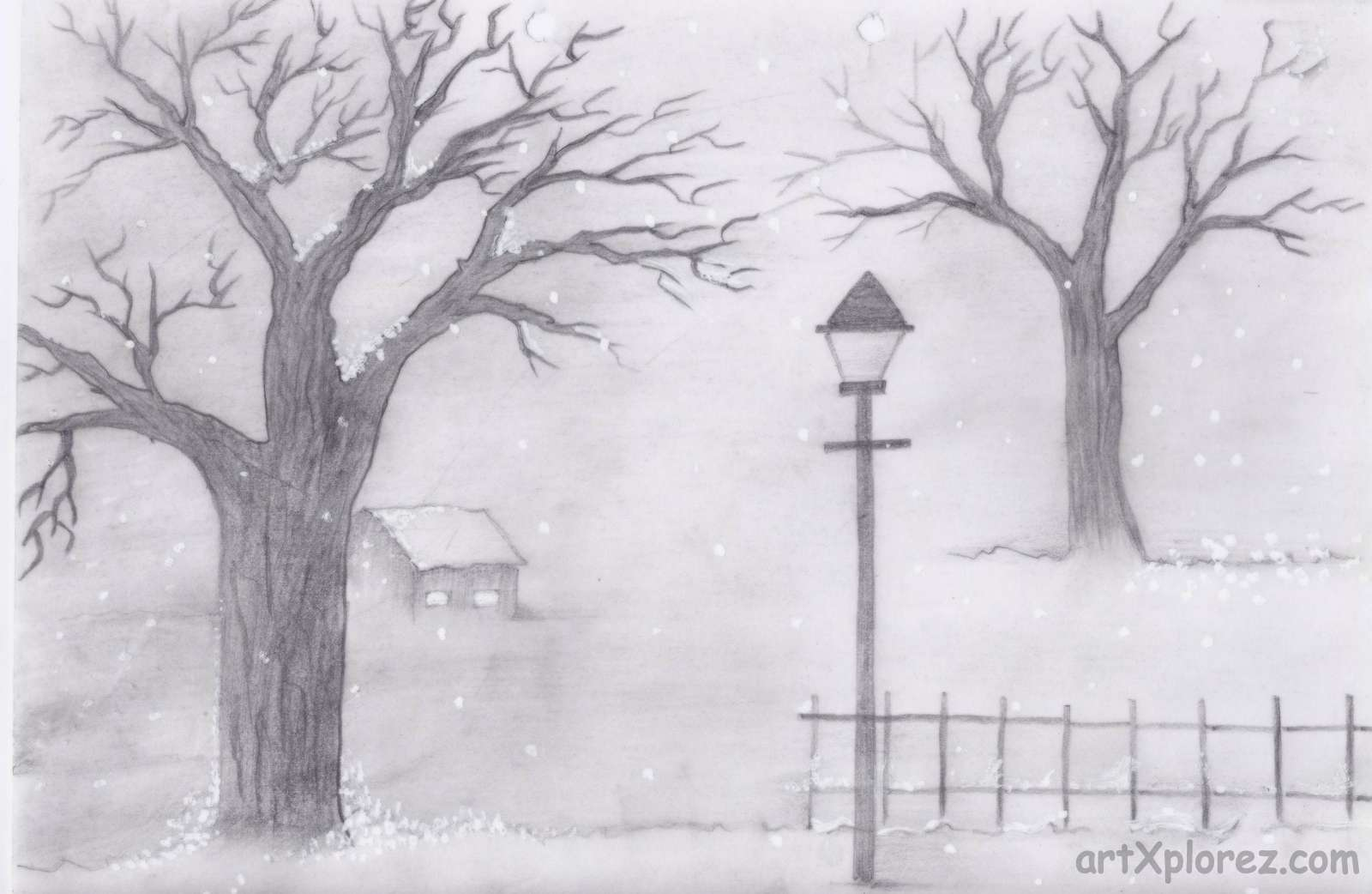 Drawn scenery shading Chilled Landscapes Shading icy weather