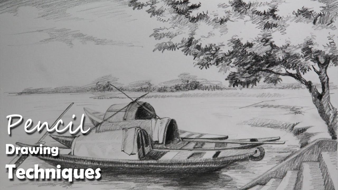 Drawn scenery pencil sketching Draw Drawing Riverside Pencil Drawing