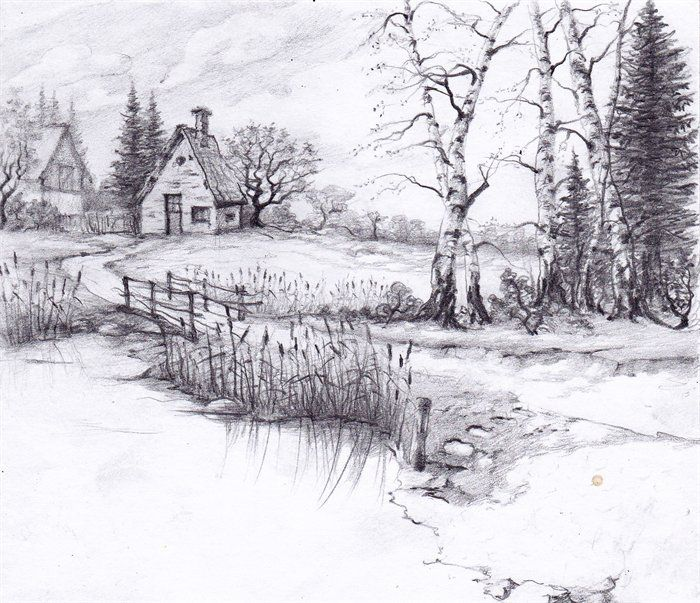 Drawn river elementary drawing exam nature Roger drawings Landscape Landscape a