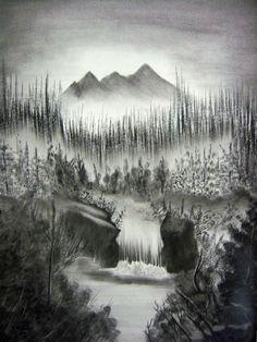 Drawn sky light blue Pencils waterfall Teaching Re)Introducing Landscape