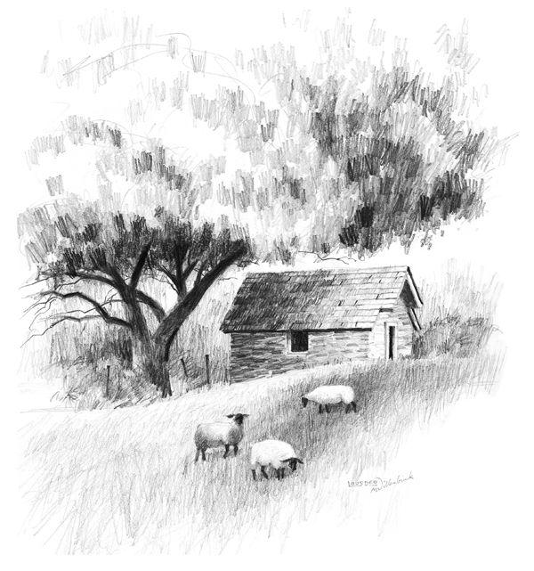 Drawn river farm landscape Faciles drawings Dessins Landscape ideas