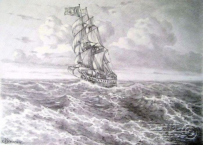 Drawn sea pencil drawing Drawing Drawing 147 ❖ on