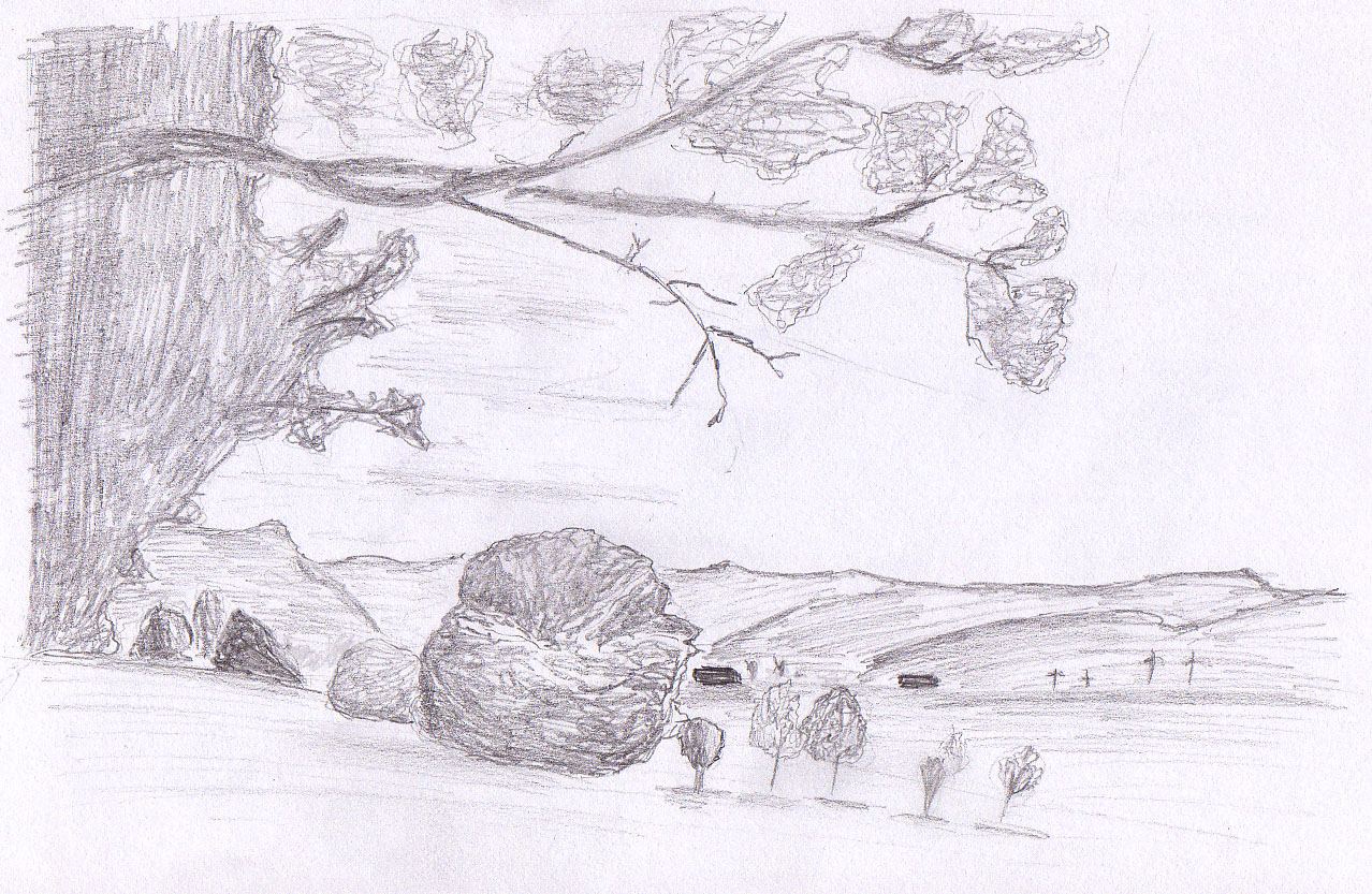 Drawn river simple Sketches : landscape Easy landscape