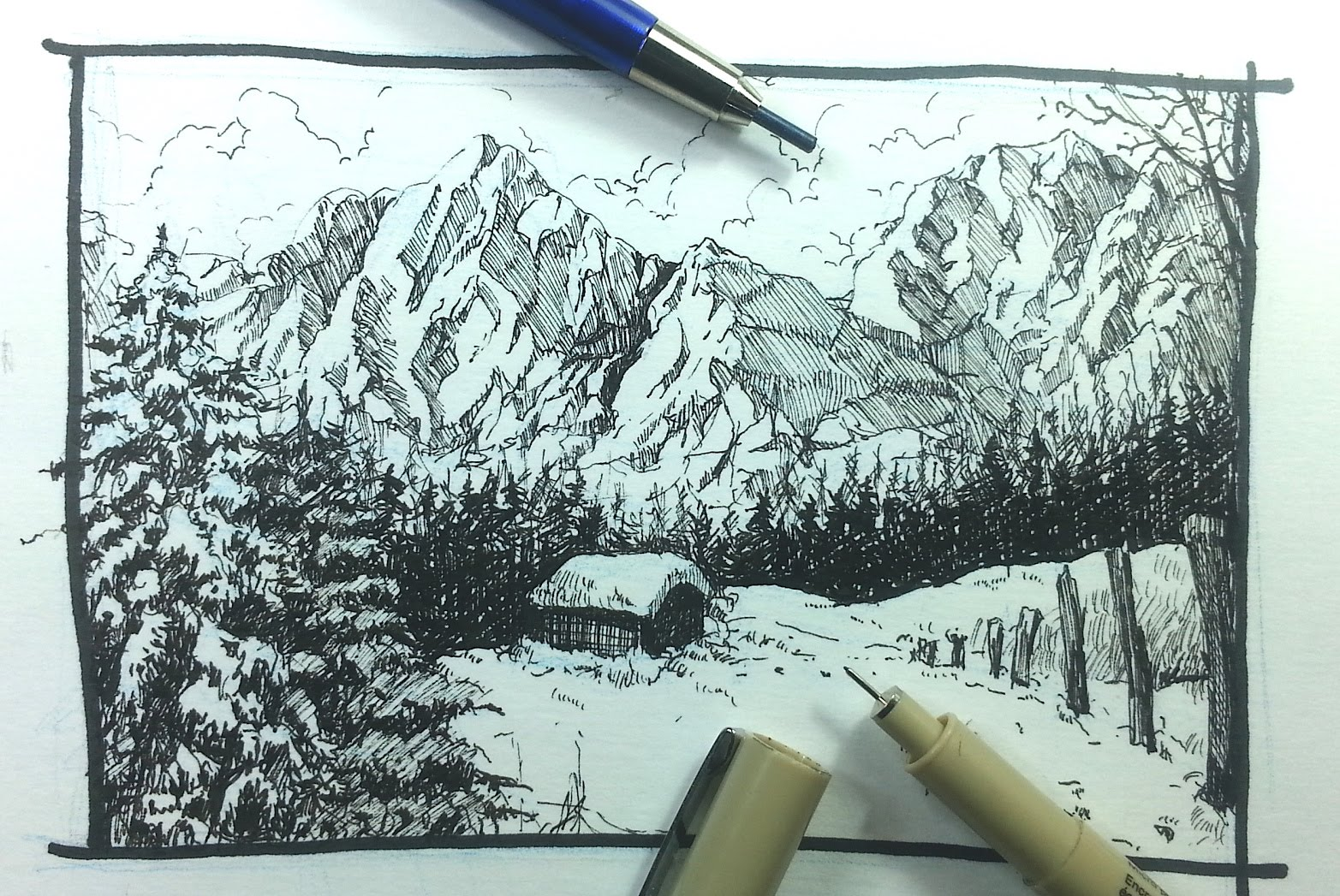 Drawn snowfall sun A to Tutorials & Ink