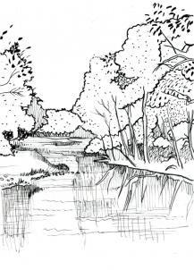 Drawn river pretty landscape Landscape to for Step &