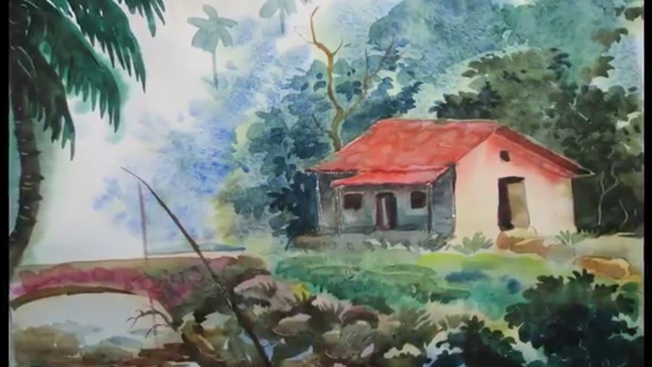 Drawn scenery water colour  in Draw House a