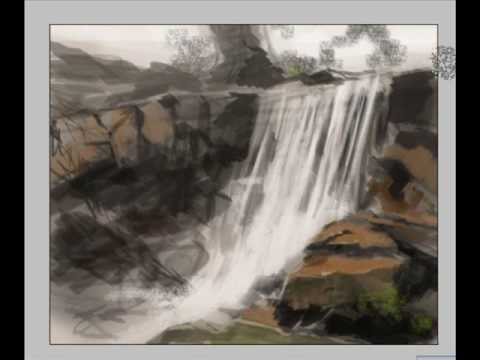 Drawn amd waterfall Concept landscape digital paint painting