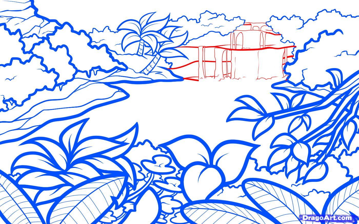 Drawn rainforest jungle landscape Lagoon Landscapes 7 a Landmarks