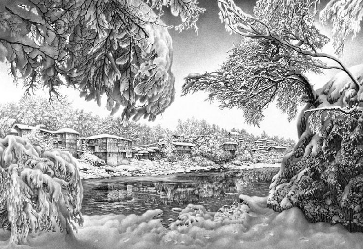 Drawn snow graphite Hunting pencil snow Landscape Pencil