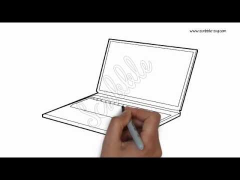 Drawn laptop Laptop Hand whiteboard drawn animation