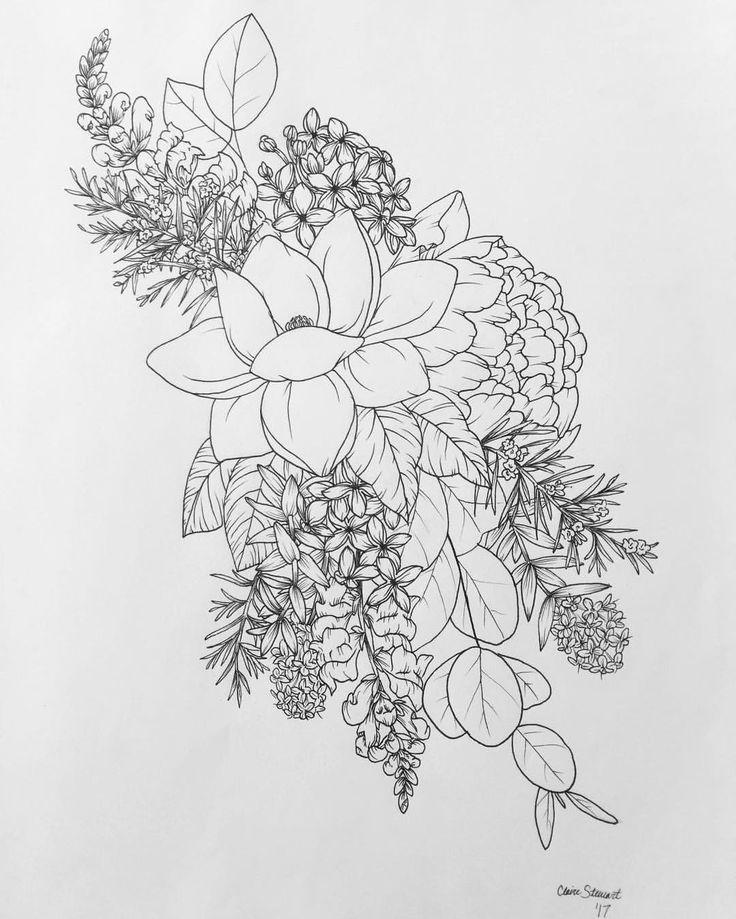 Drawn lavender black and white #9