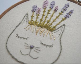 Drawn lavender Art Embroidery Lavender Cat Lavender