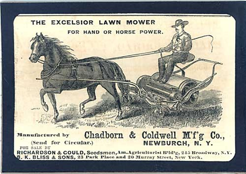 Drawn lawn Mower Victorian Horse Excelsior Advertising