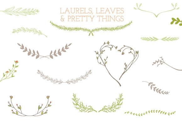 Drawn leaves detailed Frames Laurel For Custom »