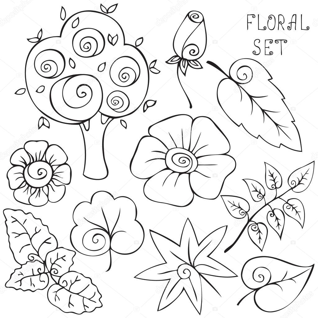 Drawn leaves outline Illustration Hand flowers drawn flowers
