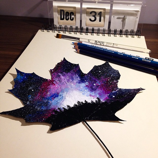 Drawn leaves painting  Self paintings Canvases Taught