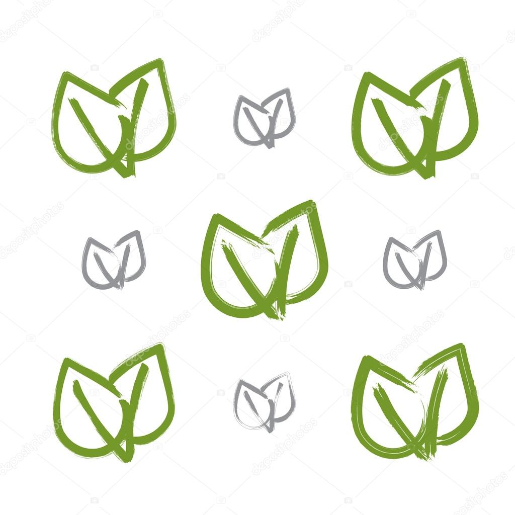 Drawn leaves simple Set of vector of Vector