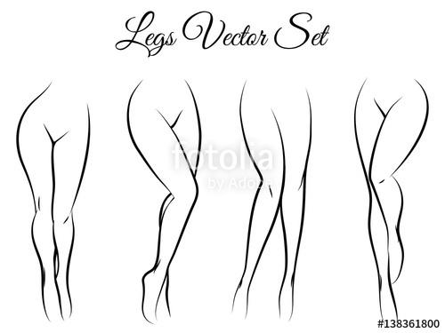 Drawn legs Woman legs isolated legs drawn
