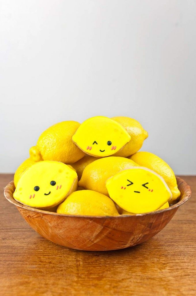 Drawn lemon face Images with shaped cookies Cute