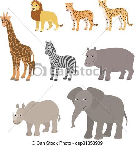 Drawn rhino hippo  csp31353909 lion of set