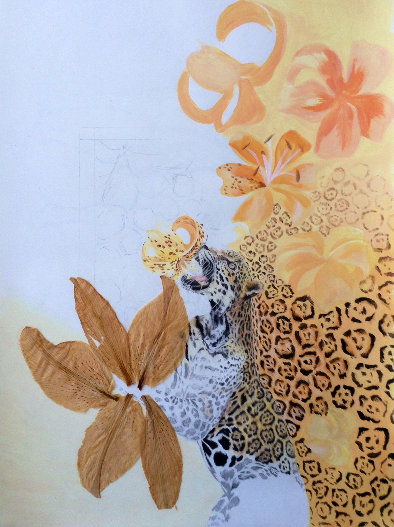 Drawn leopard skin painting Skin #work #painting progress #drawing
