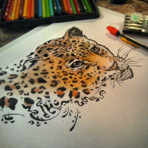 Drawn leopard skin sketch Style for tattoo Color images