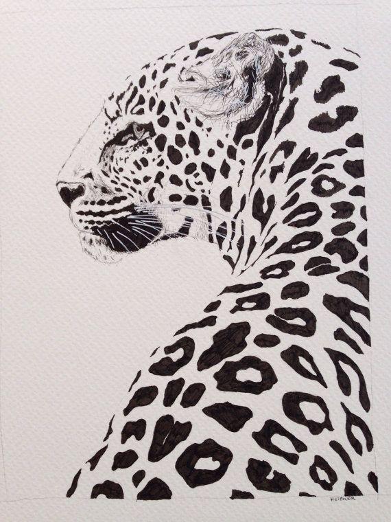 Drawn leopard skin sketch Ink drawing majestic Leopard 20+