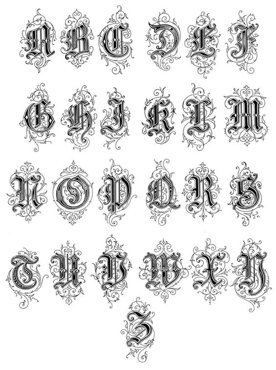 Drawn typeface old english Image Letters :: Gothic More