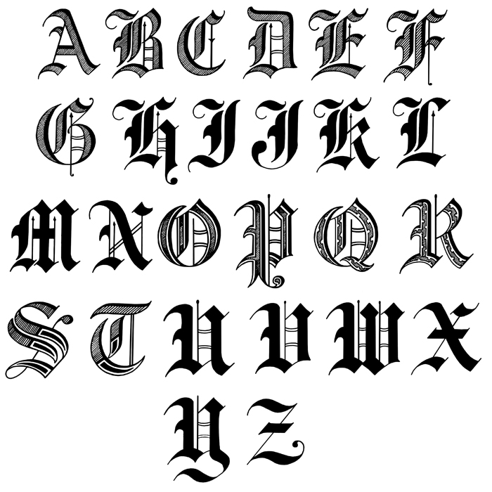 Drawn typeface old english Knights Armor By Shining And