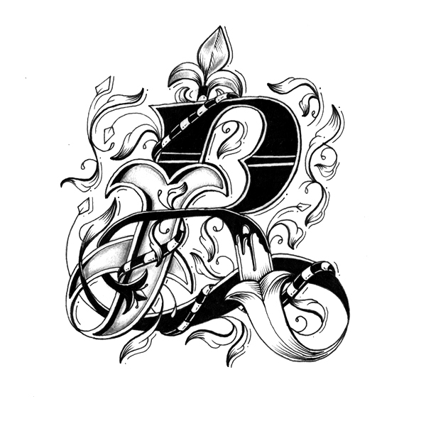 Drawn typography intricate Intricately Drawn Individually Letters With
