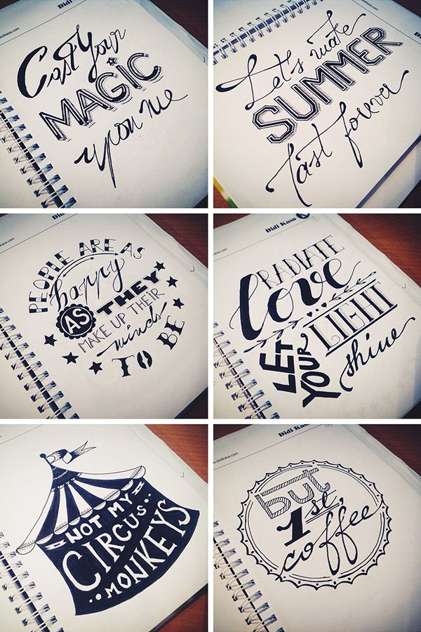 Drawn quote different font Typography Set & Behance lettering