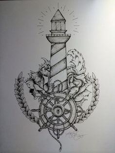 Drawn lighhouse cartoon — #artwork MyNegation #tattooart #tattoo