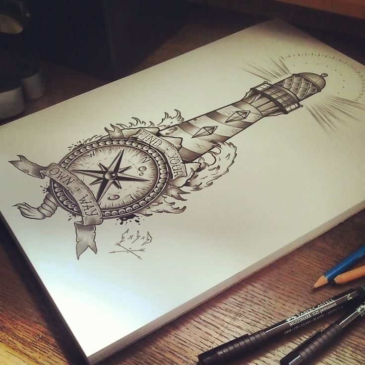 Drawn lighhouse cartoon And Pinterest best ideas tattoos